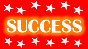 Success motivation movie with animated graphics, the letters jumping up the stairs, animated arrows, rotating text and stars. stock footage