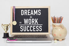 Success. Motivational success business concept in office with note Royalty Free Stock Photos