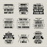 Success motivational and inspirational quotes set Stock Photography