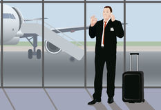Success multitask businessman in the airport Royalty Free Stock Photos
