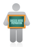 Success needs preparation avatar board sign Royalty Free Stock Image