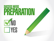 Success needs preparation board checklist sign Royalty Free Stock Photography