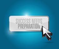 Success needs preparation button sign concept Stock Photography