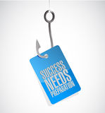 Success needs preparation hook sign Stock Photo