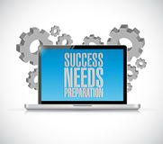 Success needs preparation laptop technology sign Stock Images
