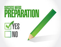 Success needs preparation sign concept Royalty Free Stock Photography