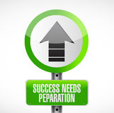 Success needs preparation street sign Stock Photos