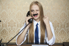 Success in negotiations over the phone Royalty Free Stock Image