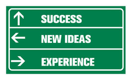Success ,new ideas, experience or road sign Stock Photos