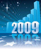 Success in New Year 2009. New Year 2009 and a large graph, conceptual business illustration stock illustration