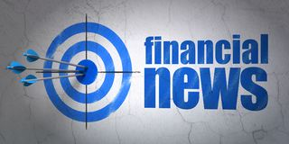 News concept: target and Financial News on wall background. Success news concept: arrows hitting the center of target, Blue Financial News on wall background, 3D Royalty Free Stock Images