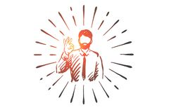 Success, Ok, Businessman, Gesture, Symbol Concept. Hand Drawn Isolated Vector. Royalty Free Stock Image