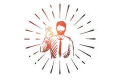 Success, ok, businessman, gesture, symbol concept. Hand drawn isolated vector. Success, ok, businessman, gesture, symbol concept. Hand drawn businessman shows stock illustration