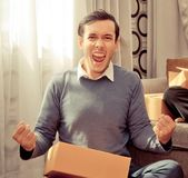 Success online home business owner celebrating. Success online home business owner is celebrating Stock Images
