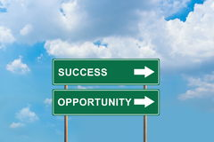 Success and opportunity green road sign Stock Image