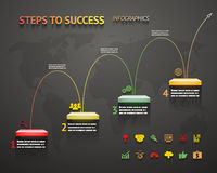 Success Option Steps Template Arrow and Staircase Infographic. Icons Vector Illustration Royalty Free Stock Photos