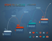 Success Option Steps Template Arrow and Staircase Infographic Icons Vector Illustration Stock Photo