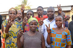 SUCCESS OF THE PETITION. Acceding to the petition for the release of Laurent Gbagbo happy because of the strong mobilization in the world. The two fingers in the Stock Image