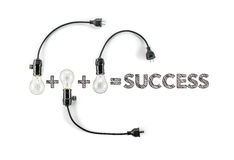 Success phrase and light bulb, hand writing, business design  Ma Stock Photos