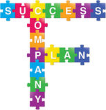 Success-Plan-Company. Designed puzzle pieces with texts Royalty Free Stock Images
