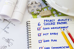 Success plan. And engineering tools and hard hat Royalty Free Stock Photos