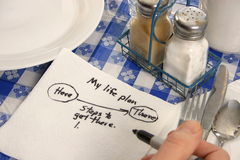 Success Plan on a napkin Stock Photos