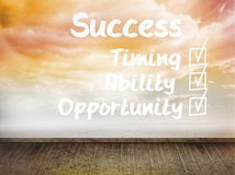 Success plan written on wall with sky Royalty Free Stock Photography