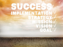 Success plan written on wall with sky Royalty Free Stock Images