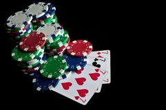 Success in poker and chips Stock Image