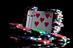 Success in poker and chips Stock Photography