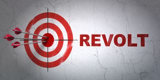 Political concept: target and Revolt on wall background. Success political concept: arrows hitting the center of target, Red Revolt on wall background, 3D Stock Image