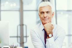 Success and professionalism in person. Businessman standing in office smiling at camera stock photos