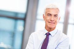 Success and professionalism in person. Businessman standing in office smiling at camera stock photography