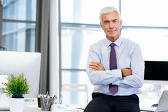 Success and professionalism in person. Businessman standing in office smiling at camera royalty free stock image