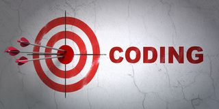 Programming concept: target and Coding on wall background. Success Programming concept: arrows hitting the center of target, Red Coding on wall background, 3D Stock Photo