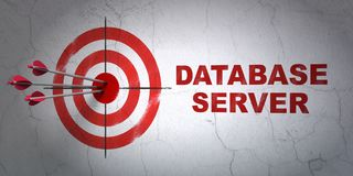 Programming concept: target and Database Server on wall background. Success Programming concept: arrows hitting the center of target, Red Database Server on wall Stock Image