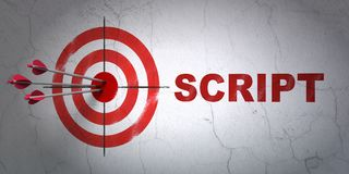 Programming concept: target and Script on wall background. Success Programming concept: arrows hitting the center of target, Red Script on wall background, 3D Stock Photo