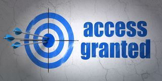 Protection concept: target and Access Granted on wall background. Success protection concept: arrows hitting the center of target, Blue Access Granted on wall Stock Photo