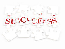 Success puzzle. Isolated 3d puzzle with success text Royalty Free Stock Photos