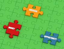 Success puzzle. Conceptual -three puzzle pieces with white text on green jigsaw Royalty Free Stock Images