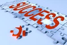 Success puzzle. 3d rendered chrome success puzzle Vector Illustration