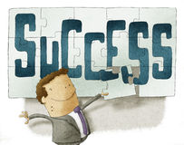 Success puzzle background. Businessman with Success puzzle background Stock Images