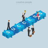 Success puzzle piece business flat isometric vector 3d. Success puzzle piece flat 3d isometry isometric business concept web vector illustration. Creative people Royalty Free Stock Images
