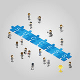 Success puzzle piece flat 3d isometry isometric. Creative people collection Stock Photos