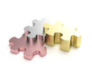Success: puzzle pieces as a staircase Stock Images