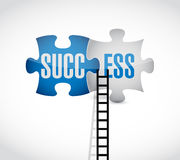 Success puzzle pieces and ladder concept Stock Images
