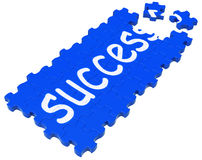 Success Puzzle Shows Accomplishment Royalty Free Stock Image