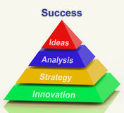 Success Pyramid Shows Progress Achievement Or Winning Stock Images