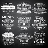 Success quotes chalkboard set Royalty Free Stock Image