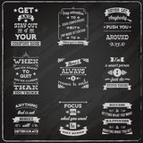 Success quotes set chalkboard